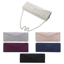 Elegant Pleated Satin Floral Crystal Flap Clutch Evening Bag - Diff Colors Avail