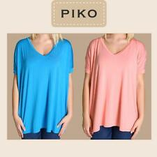 PIKO T2801 Authentic Bamboo Short Sleeve V-Neck Oversized Top - S M L
