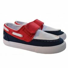 Lacoste Infants White, Red And Navy Blue Keel Boat Shoes