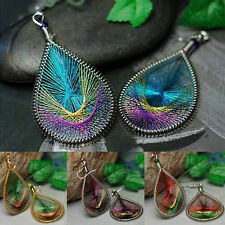 Great Boho Lady Peacock Tail Wire Thread Earring Dangle Hook Ear Stud Earrings