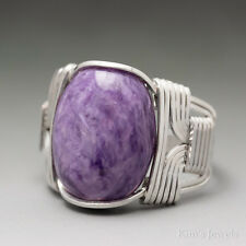 Charoite Wire Sterling Silver Wrapped Cabochon Ring