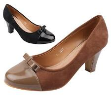 Ladies High Block Heel Casual Faux Suede / Patent Bow Front Work Court Shoes 3-8
