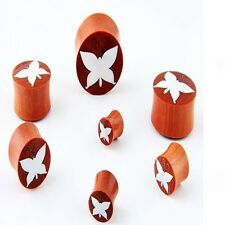 Pair of Organic Sawo Wood Bone Inlay Butterfly EAR PLUGS Gauges E244