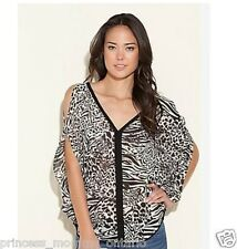 GUESS Zoey Tunic Animal Blouse Cold Shoulder Top Loose Leopard XS