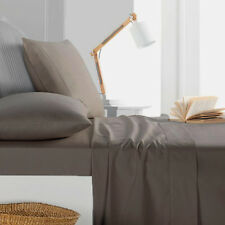 1000TC Egyptian Cotton 1pc  FLAT SHEET Sateen Solid Dark Taupe