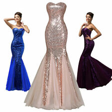 UK Sequined Mermaid Long Prom Evening Dress Bridesmaid WEDDING Formal Party Gown