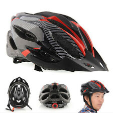 Cycling Bicycle Adult Mens Bike Helmet Red carbon color With Visor Mountain QW