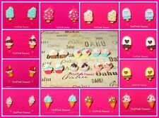 Mini Ice Cream Cones Popsicle on stick Kawaii Bow Silver Plated Stud Earrings