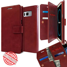 Dual Card Flip holder leather wallet snap lock Case cover for Galaxy iPhone LG