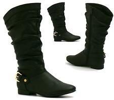 LADIES WOMENS FLAT BOOTS CASUAL BLACK FAUX LEATHER MID CALF SLOUCH ZIP UP SHOES