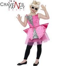 Girls Lady Gaga Costume Popstar Kids Fancy Dress Celebrity BOOK Day Outfit New