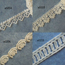 "3 Yards 0.75"" - 1.5"" Wide Venise Victorian Floral Lace Trim  Ivory White zhs8"