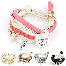 Girl Jewelry Multilayer Pearl Chain Pendant Bangle Multi Bracelet