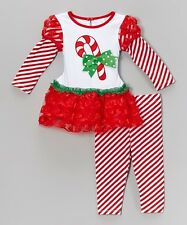 Youngland Baby Girl's 2-Piece Holiday Candy Cane Dress & Striped Leggings Set