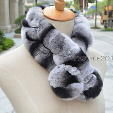 Winter Women Real Genuine Rex Rabbit Fur Wrap Muffler Scarf Warmer Shawl