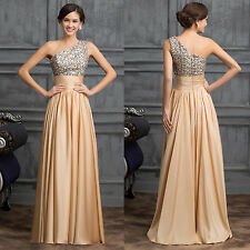 One Shoulder Sequins Party Dress Long Maxi Bridesmaid Prom Evening Dress Gowns