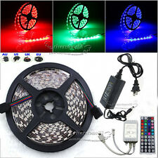 New 5M 5050 SMD 300 LEDs RGB Strip Lights 44 Key IR Remote 12V 5A Power Supply