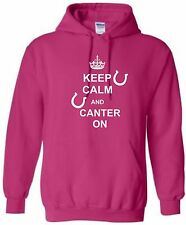 KEEP CALM CANTER ON HOODIE HORSE RIDING HOODY EQUESTRIAN HOODED SWEAT S-XXL