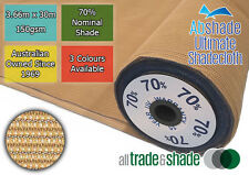 70% Shade Cloth 3.66M x 30M ROLL, Shadecloth/mesh in Green, Black or S/stone