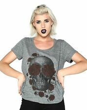 "New Loungefly Junior's ""Skull With Roses"" Grey Tee Shirt - Sizes S - L"