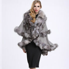 Luxury Women Knitted Poncho Wool Cape 100% Real Silver Fox Fur collar Coat P0010