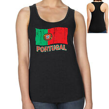 Portugal Flag Ladies Racerback Distress Flag Portugal Racer Tank  - 1060C