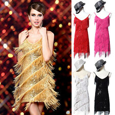 Bling Sequin TASSEL 20s Flapper Clubwear Party Latin Ballroom Dance Fringe Dress
