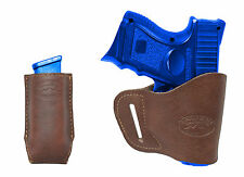 New Barsony Brown Leather Yaqui Holster + Mag Pouch Kel-Tec Sccy Kimber Comp 9mm