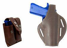 New Brown Leather Pancake Gun Holster + Dbl Mag Pouch Taurus Full Size 9mm 40 45