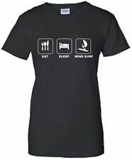 Eat Sleep Wind Surf Ladies Fitted T-Shirt Windsurf TShirt Surfer T Shirt Surfing