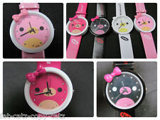 FASHION GIRLS LADIES CUTE ANIMAL KITTY & BOW WATCH 4 COLOURS PINK GIFT UK SELLER