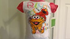 NWT Sesame Street Infant Girls Elmo & Zoe Sparkly White/Pink Tee: Size 12 month