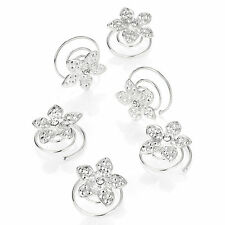 6pcs Bridal Wedding Silver Flower Clear Crystal Hair Coils Spirals Twists Pins