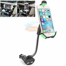 Universal Dual USB Car Charger Mount Cigarette Lighter Holder for Phone iPhone