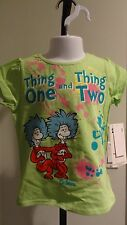 """NWT Dr. Seuss Toddler Girls """"Thing 1 & Thing 2"""" Green Short Sleeve Tee - 2T-4T"""
