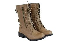 Women's Short Mid Calf Military Style Leather Boots Beige Fashion Cute Sz 5.5