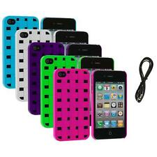 Color Basket Weave Hard Snap-On Rubberized Case+6FT Aux for iPhone 4 4S 4G