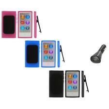 Color TPU Rubber Case Cover Belt Clip+Car Charger for iPod Nano 7th Gen 7 7G