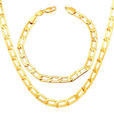 18K Gold /Platinum/ Rose Gold Plated Link Chain Necklace Bracelet Sets 26'' 30''