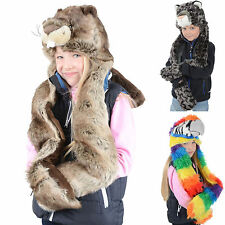 Boys Girls Deluxe Animal Hat With Attached Scarf & Mittens Super Soft Faux Fur