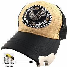 Western Straw Cock Fight Cowboy USA Flag Rooster Beer Hat Cap Bottle Opener