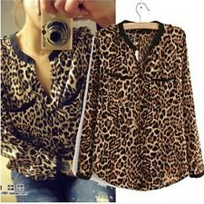 Women Sexy Wild Leopard Long Sleeve Tops Print Chiffon Blouse Loose Shirt V-Neck