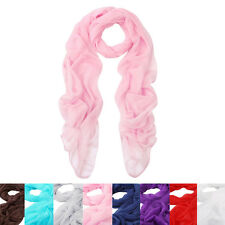 Elegant Silky Chiffon Sheer Plain Oblong Scarf Wrap - Different Colors