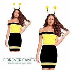 Adults Womens Beautiful Bumble Bee Sexy Hen Night Party Fancy Dress Bee Costume