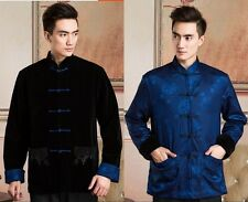 Double face Chinese men's Velour and silk satin jacket coat Sz: S M L XL XXL
