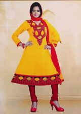 Cotton Anarkali Suit Semi Stitch Embroidered Salwar Kameez Bollywood Party Dress