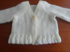 """Hand knitted  v neck cardigan, lilac, lemon, pink, green or white  10.25""""-18"""""""