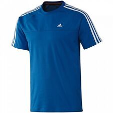 Mens Adidas Essentials 3S Crew Tee T Shirt Blue Climalite UK Size S  NEW