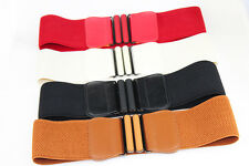 New Women Elastic Faux Leather Buckle Waist Wide Belt Stretch Waistband Cinch