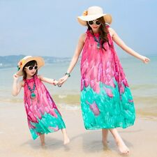 Family Red Blue chiffon dress women girls dresses Summer sleeveless beach dress